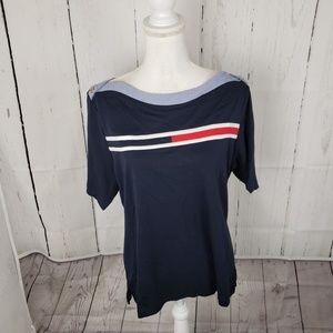 New Tommy Hilfiger Flag Logo Boatneck T Shirt